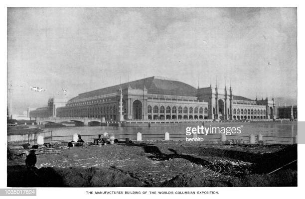 manufactures building at the world's columbian exposition - chicago worlds fair stock illustrations