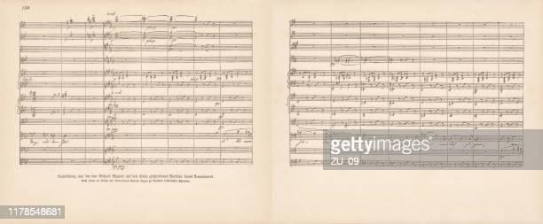 リチャード・ワーグナーによるタンハウザースコアの原稿、ファクシミリ、1885年 - アイゼナッハ点のイラスト素材/クリップアート素材/マンガ素材/アイコン素材