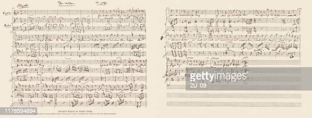 manuscript of the violet by wolfgang amadeus mozart, facsimile, 1885 - classical stock illustrations