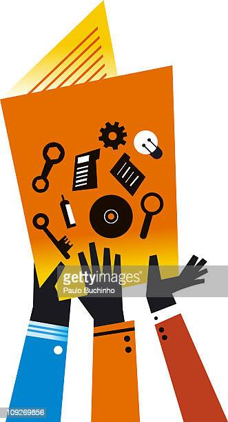 many hands on a manual - medium group of objects stock illustrations, clip art, cartoons, & icons