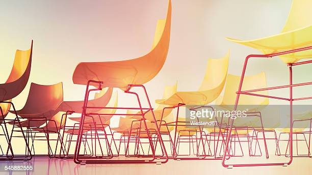 Many modern chairs, 3D Rendering