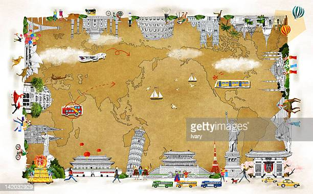 map and international landmark - sydney opera house stock illustrations