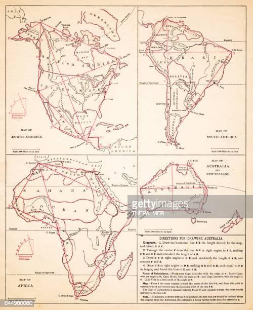 Map drawing Africa North America Australia hemispheres 1881