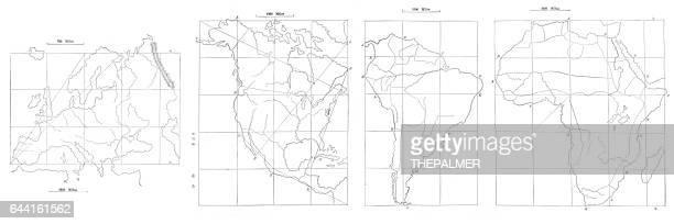 illustrations, cliparts, dessins animés et icônes de carte dessin technique 1881 - hémisphère