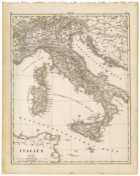Map Italy 1840 Wall Art