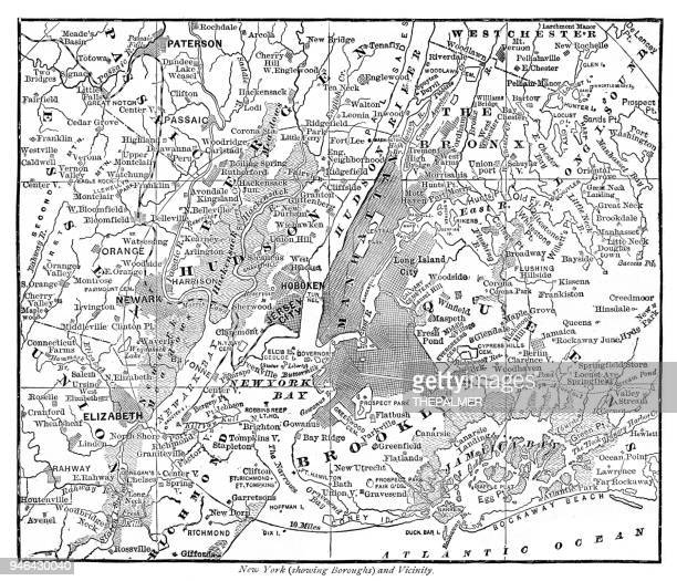 map new york and vicinities 1889 - the bronx stock illustrations