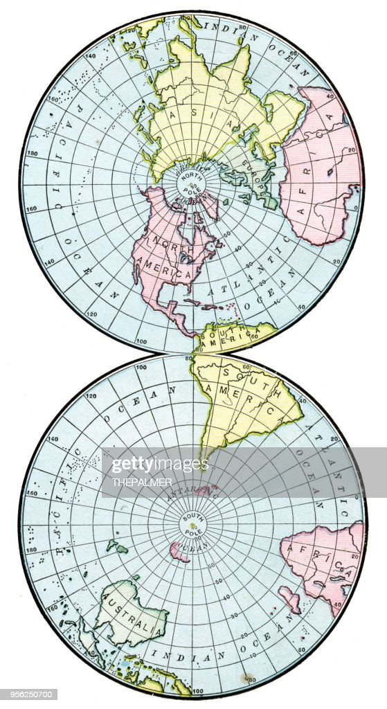 Map Northern and Southern hemisphere of 1895 : stock illustration