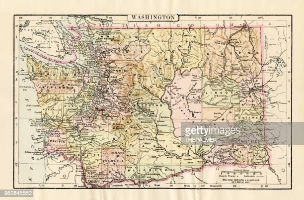 map of 1894 - washington state stock illustrations