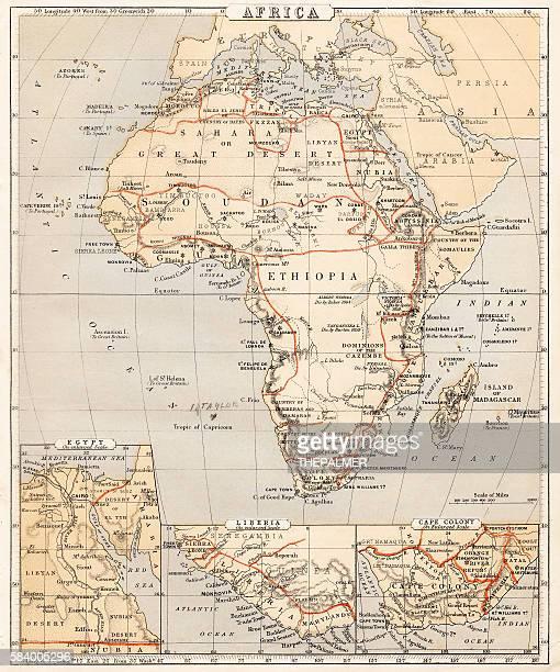 map of africa 1869 - ethiopia stock illustrations, clip art, cartoons, & icons