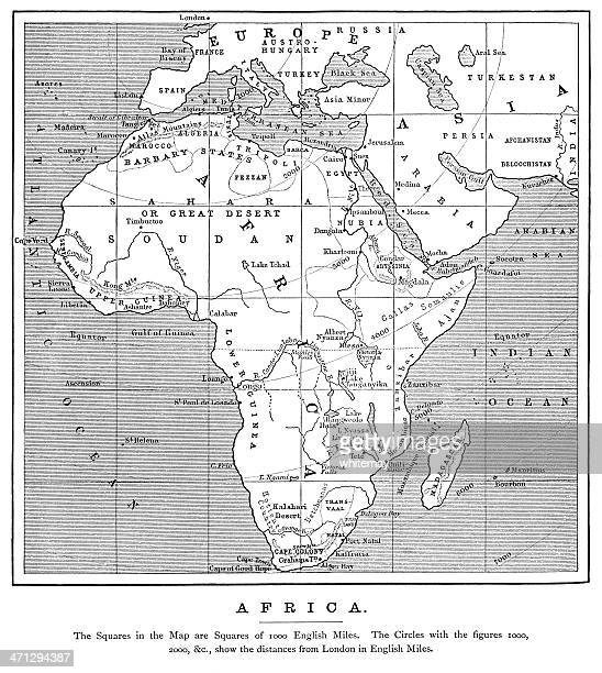 1882 map of africa with distances from london - nubia stock illustrations, clip art, cartoons, & icons