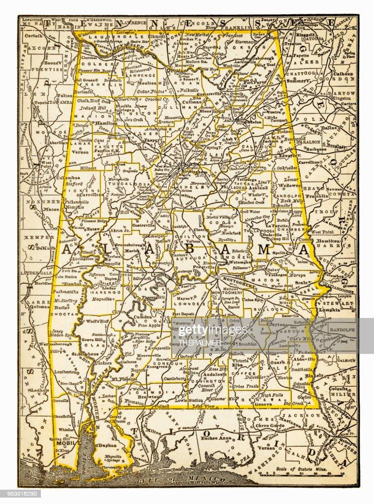 Map of Alabama 1893 : stock illustration