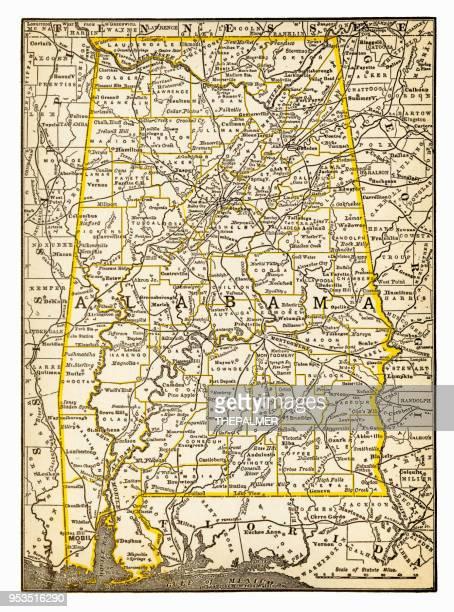 map of alabama 1893 - alabama stock illustrations, clip art, cartoons, & icons