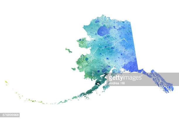 map of alaska with watercolor texture - raster illustration - alaska us state stock illustrations