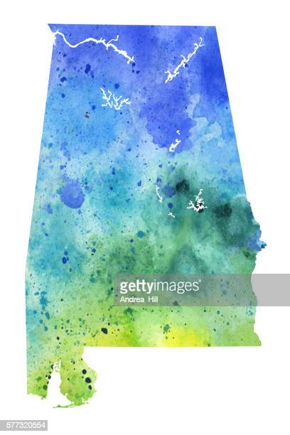 map of albama with watercolor texture - raster illustration - alabama stock illustrations, clip art, cartoons, & icons