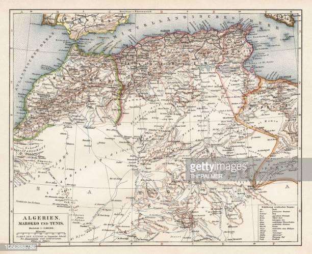 ilustraciones, imágenes clip art, dibujos animados e iconos de stock de mapa de argelia, marruecos, túnez, 1900 - geografía física