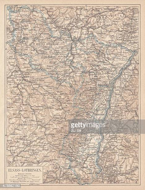 map of alsace-lorraine, lithograph, published in 1875 - lorraine stock illustrations, clip art, cartoons, & icons