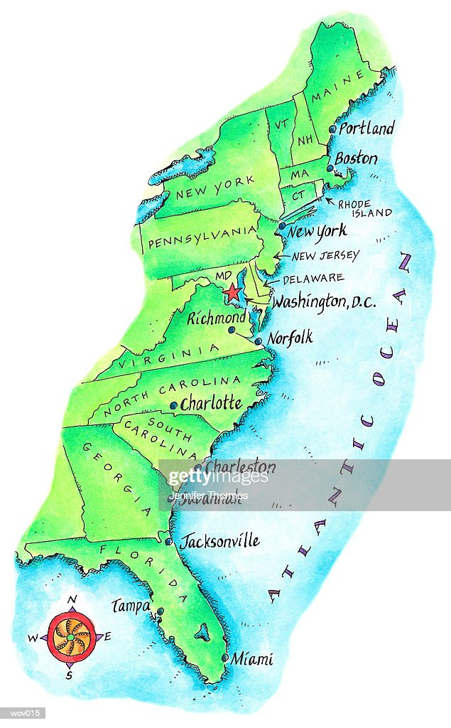 Map of American East Coast : Stock Illustration