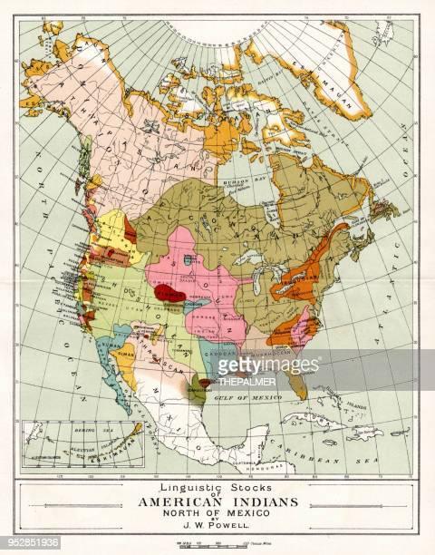 ilustraciones, imágenes clip art, dibujos animados e iconos de stock de mapa de los indios americanos al norte de méxico 1894 - indios americanos sioux