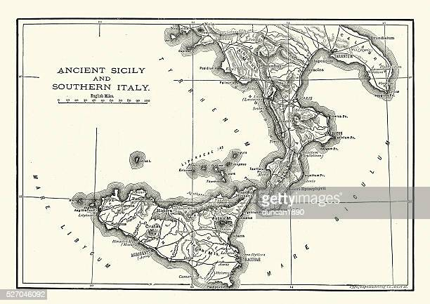 map of ancient sicily and southern italy - sicily stock illustrations, clip art, cartoons, & icons