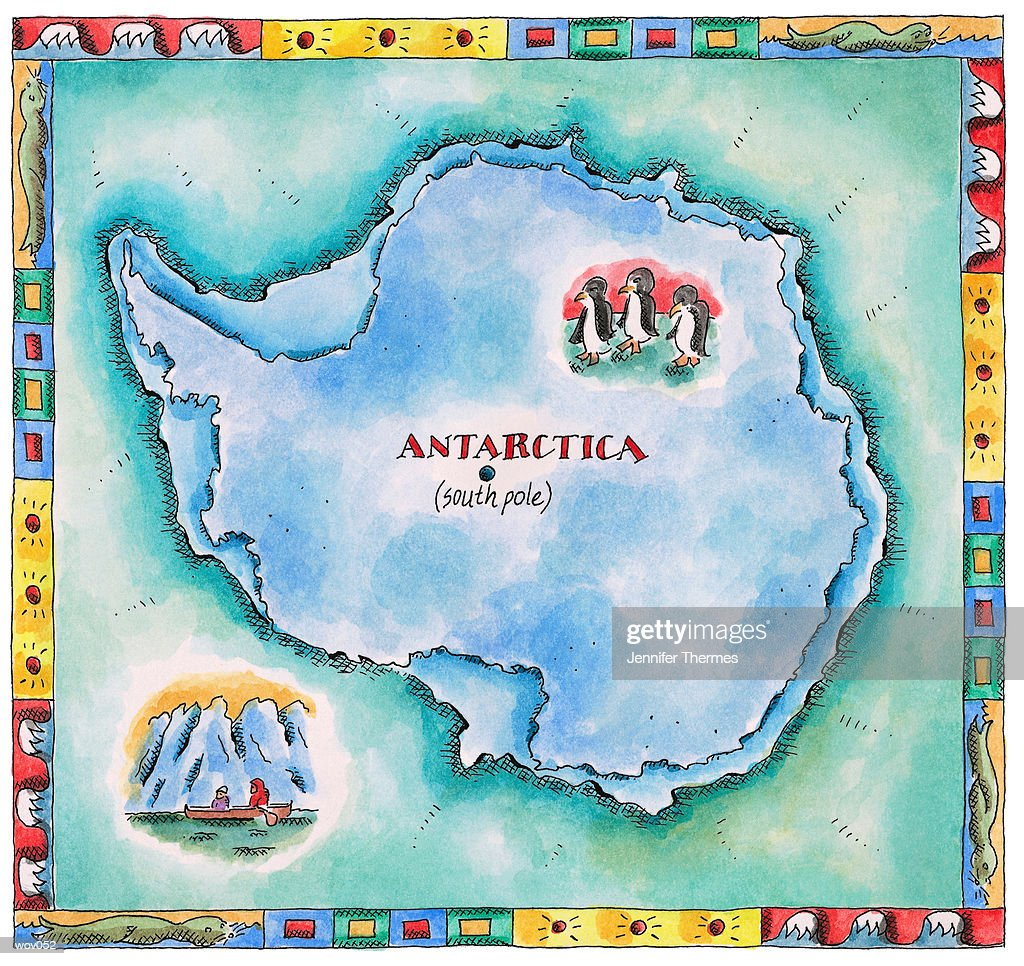 Map of Antarctica : Stock Illustration