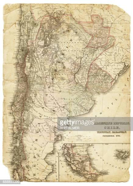 Mapa de Argentina Chile, Uruguai Paraguai 1886