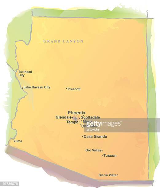 map of arizona - watercolor style - tempo stock illustrations