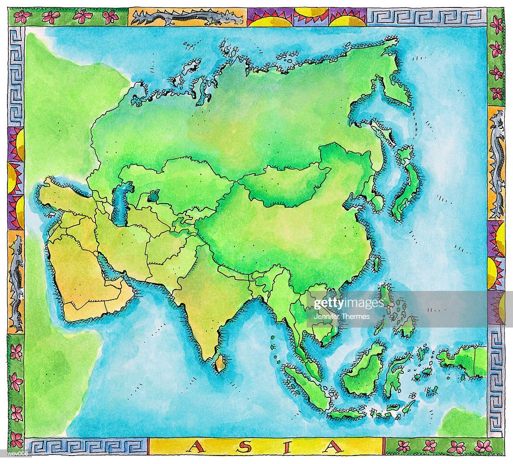 Map of Asia : Stock Illustration
