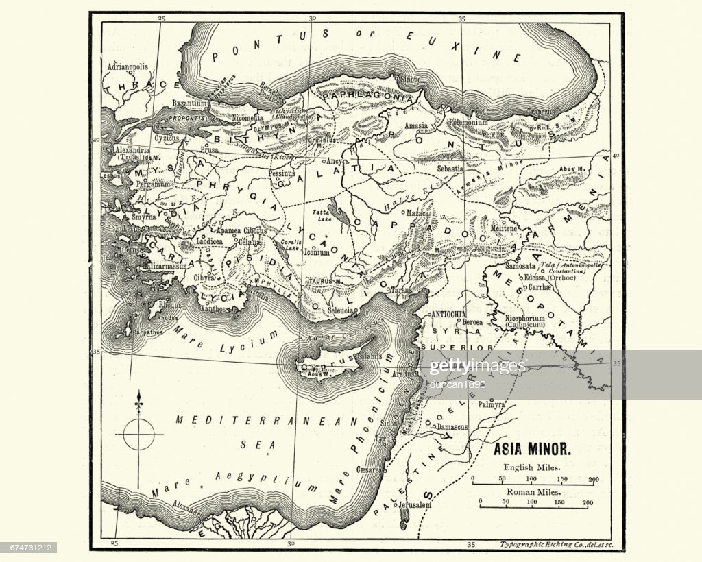 Map Of Asia Minor In Ancient Times Stock Illustration Getty Images