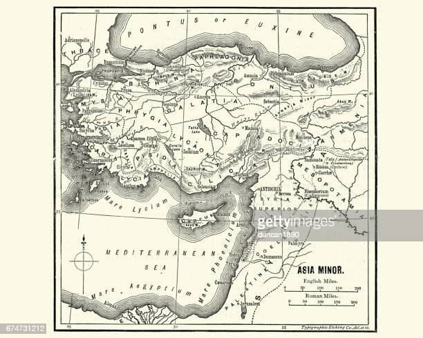 map of asia minor in ancient times - historical palestine stock illustrations