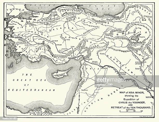 Map of Asia Minor showing Xenophon retreat