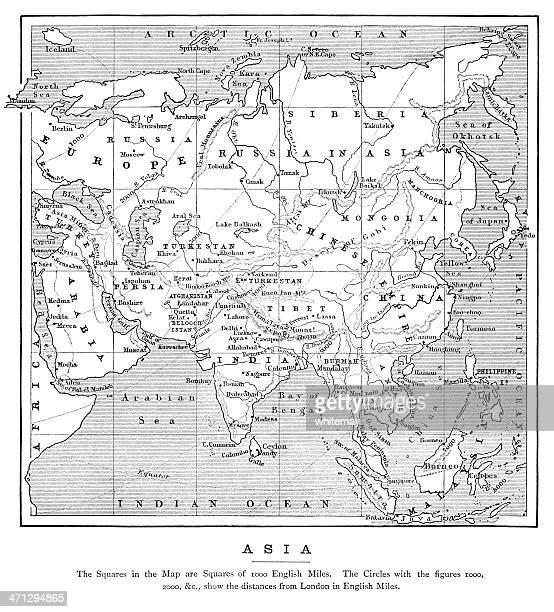 マップ、アジアの距離からロンドン(1882 - 満州地方点のイラスト素材/クリップアート素材/マンガ素材/アイコン素材