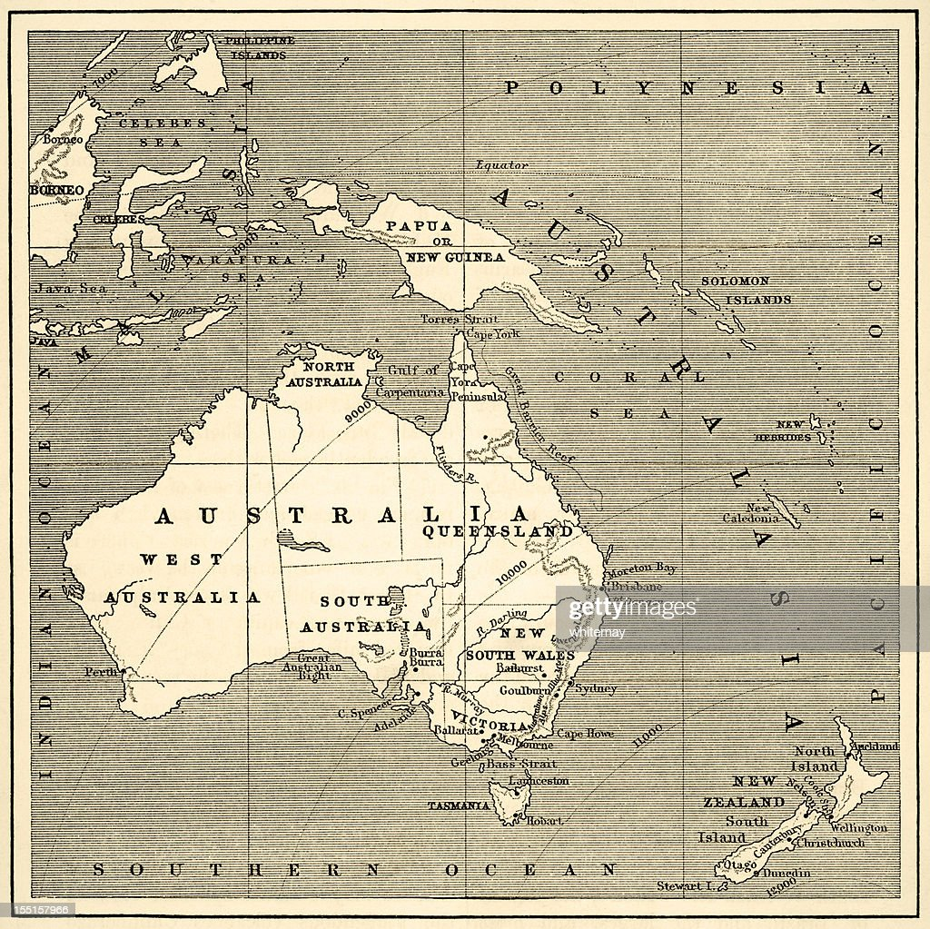 Map of Australasia (1882 engraving) : stock illustration