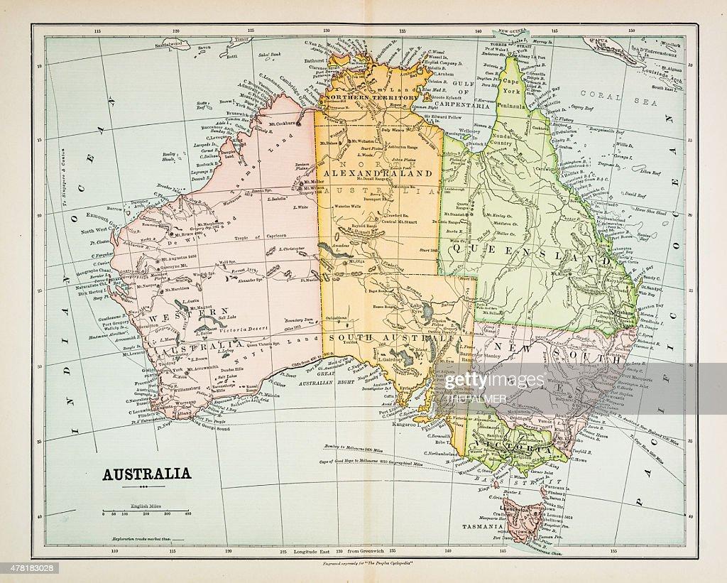 Map Of Australia 1830.Map Of Australia 1883 Stock Illustration Getty Images