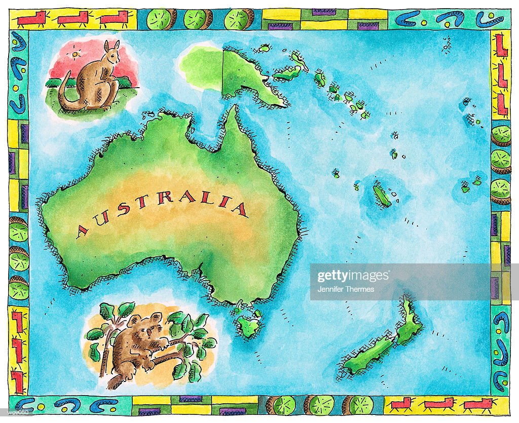 Map of Australia : Stockillustraties