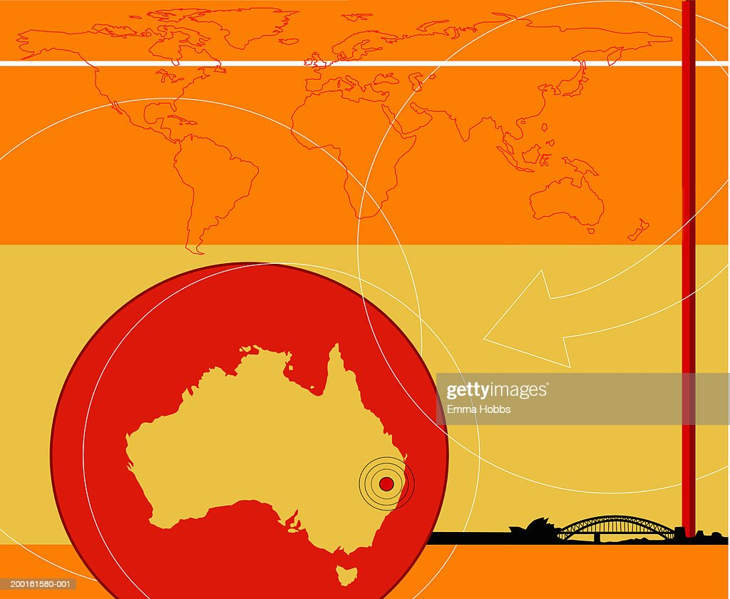 Sydney Australia World Map.Map Of Australia World Map And Sydney Harbour Bridge In Background