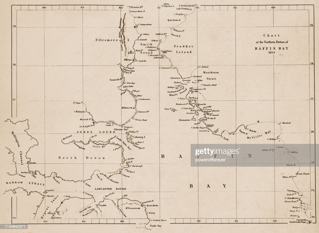 Map of Baffin Bay in Nunavut, Canada - 19th Century : Stock Illustration