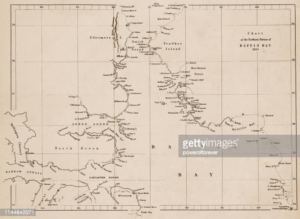 ilustraciones, imágenes clip art, dibujos animados e iconos de stock de mapa de la bahía de baffin en nunavut, canadá-19th siglo - países del golfo