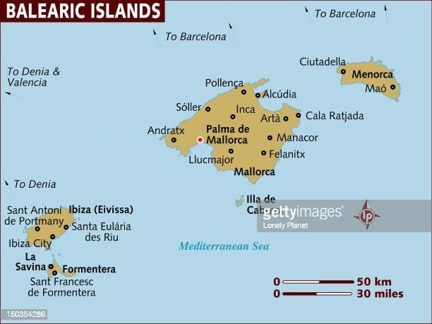 map of balearic islands. - comunidad autonoma de valencia stock illustrations