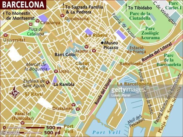 map of barcelona. - málaga province stock illustrations, clip art, cartoons, & icons
