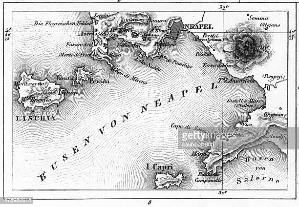 map of bay of naples and naples engraving - naples italy stock illustrations