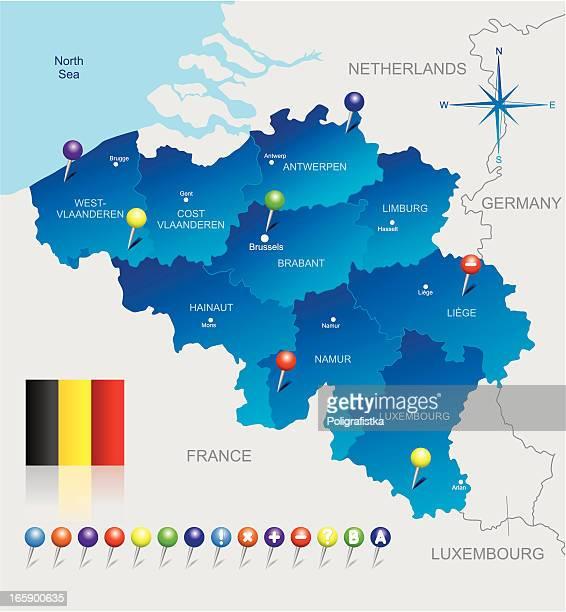 ベルギーのマップ - 西フランダース点のイラスト素材/クリップアート素材/マンガ素材/アイコン素材