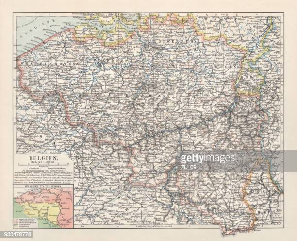 map of belgium, lithograph, published in 1897 - human settlement stock illustrations, clip art, cartoons, & icons