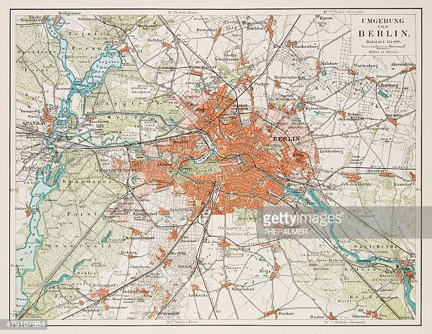 map of berlin 1895 - germany stock illustrations, clip art, cartoons, & icons