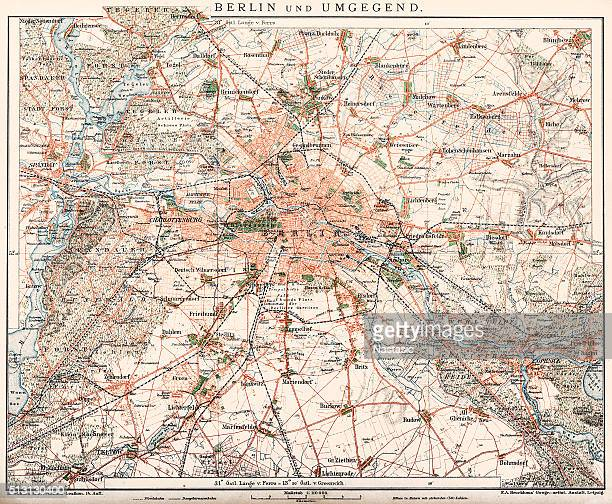 Map of Berlin and surrounding area 1898