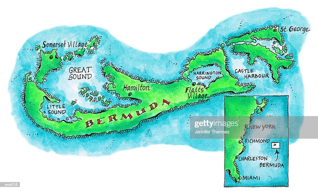 Map of Bermuda : Stock Illustration