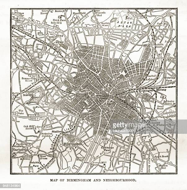 map of birmingham and neighborhoods, england victorian engraving, 1840 - west midlands stock illustrations