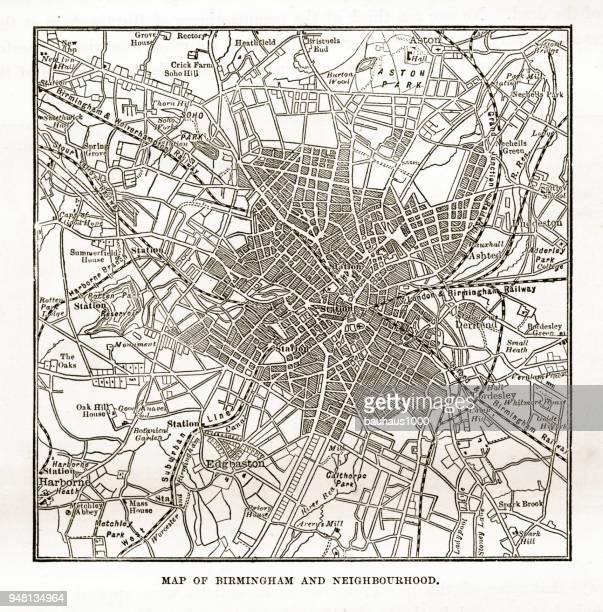 Map of Birmingham and Neighborhoods, England Victorian Engraving, 1840
