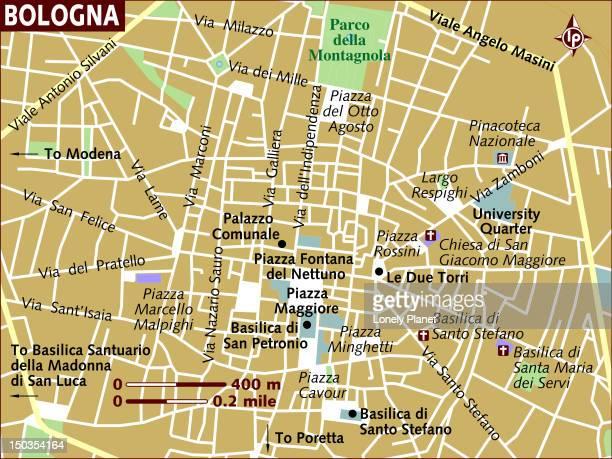 map of bologna. - bologna stock illustrations, clip art, cartoons, & icons