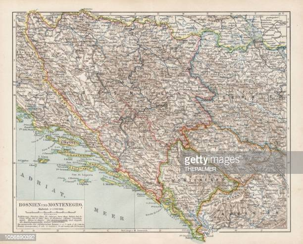 Map of Bosnia and Montenegro 1900