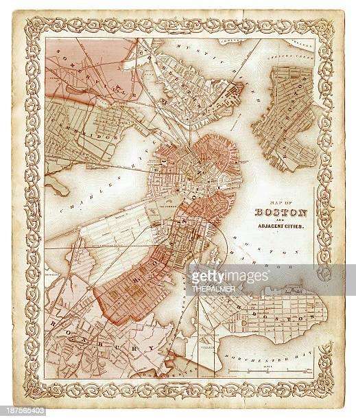 map of boston 1855 - boston massachusetts stock illustrations